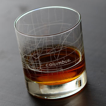 Columbus Map Rocks Glass