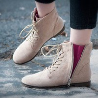 Qupid Strip-76 Exposed Zipper Lace Up Bootie (Taupe) - Shoes 4 U Las Vegas