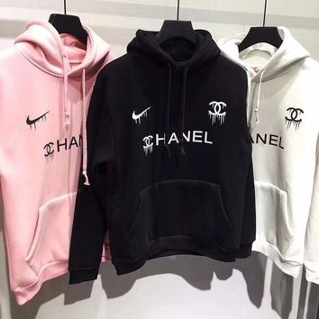 Nike x Chanel Print Hooded Pullover Tops Sweater Sweatshirts