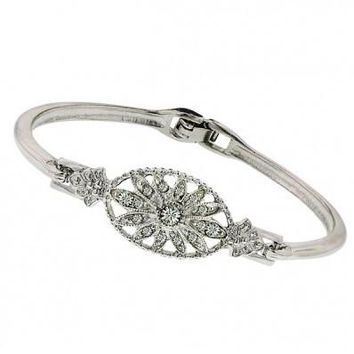 "Silver-Tone Crystal Hinged 7.25"" Bangle"