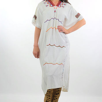 70s Oaxacan Embroidered Mexican dress scarab design