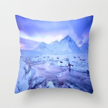 Freezing Mountain Lake Landscape : Blue Throw Pillow by 2sweet4words Designs