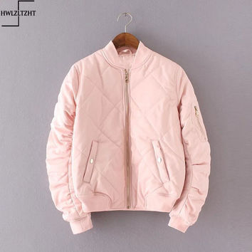 New Fashion 2017 Spring Autumn Bomber Jacket Women Padded Coat Female Casual Diamond Coat aqueta feminina Quilted Short Jacket