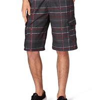 Burgundy Plaid Cargo short