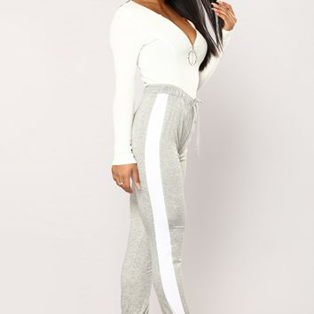 Tammy Striped Joggers - Grey