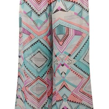 Bar III Women's Geo Tribal Print Wide Leg Pants Swim Cover