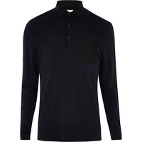 River Island MensNavy RI Studio long sleeve polo shirt