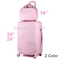 20 inches,Hello Kitty Travel Suitcases,Girl Pink Trolley Case, Mini Travel Bags with Trolley,ABS Luggage,Universal Wheels