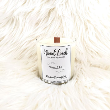 Vanilla Wood Wick Soy Candle in Clear Glass Jar