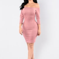 Keep You Guessing Dress - Mauve