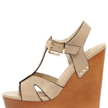 Soda Lasky Beige T Strap Platform Wedge Sandals