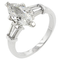 Silvertone Marquise Centerpiece Ring, size : 08