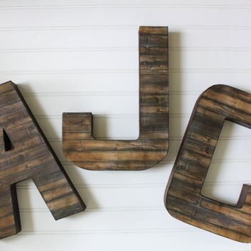 Distressed Letters, Faux Wooden Letters, Woodland Nursery, Reclaimed Wood, Wall Letters Nursery, Rustic Home Decor, Wood Letters, Gallery