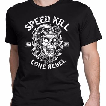 Speed Kill Chopper Triumph Racer Vintage Retro Skull Fashion T-shirt