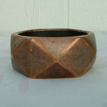 Copper Bracelet Geometric Wide Faceted Vintage Jewelry