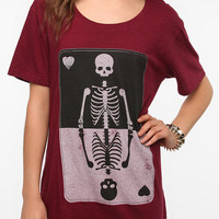 Feather Hearts Skeleton Card Tee