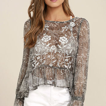 Whispering Winds Grey Floral Print Embroidered Top