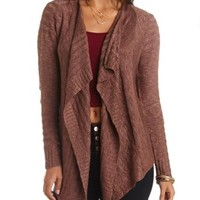 Slub Knit Cascade Cardigan Sweater by Charlotte Russe