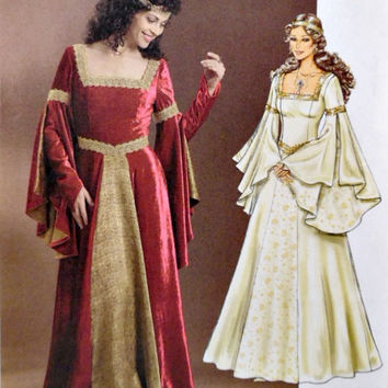 Butterick B4571 Medieval Renaissance Costume Dress Pattern Three Piece Bell Sleeves Laced Back Sewing Patterns Uncut Size 6 8 10 12