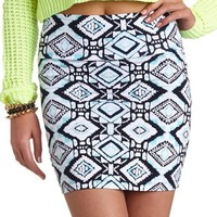 Ikat Print Body-Con Mini Skirt