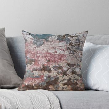 'Cracking Paint and Rust Abstract' Throw Pillow by Anna Lemos