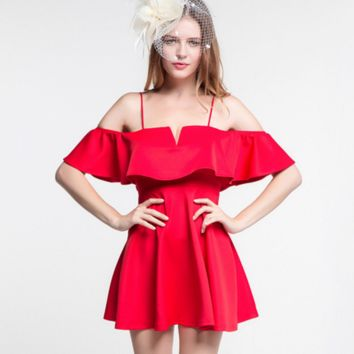 Summer harness with a word collar strapless low-cut halter high waist A word red dress