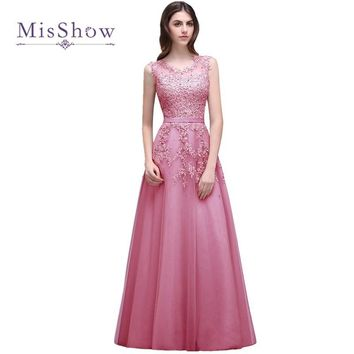 Weddings & Events Robe Pink Lace See Through Sheer Chiffon A-line Evening Dress 2017 Long De Soiree Prom Party Gowns Refreshment