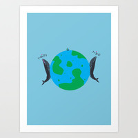 Blue Whales Love Song Art Print by Erik Sandi Satresa