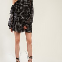 Polka-dot print one-shoulder georgette dress | Saint Laurent | MATCHESFASHION.COM US