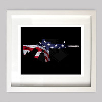 M4 Rifle Patriotic Decor United States Flag Firearm Wall Art, 8x10 Digital Wall Art, Molon Labe, Digital Download, Digital file PDF