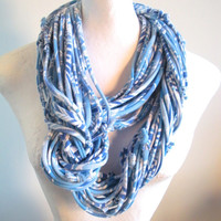 Bohemian Blue Infinity Loop Scarf Tropical Print Eco-Friendly Fashion Tribal Cowl Scarf Upcycled Clothing Warm Winter Scarf Gifts Under 75