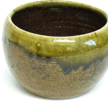 Vase or Planter, Brown, Green, Drip Glaze, Studio Pottery, Bulbous Body, Hand Thrown, Hand Painted, Hand Crafted