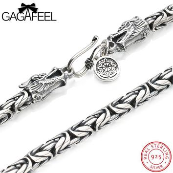 GAGAFEEL Men Necklace Authentic 925 Sterling Silver Vintage Classic Clavicle Chain Dragon Head Male Necklaces  Punk 4-7MM