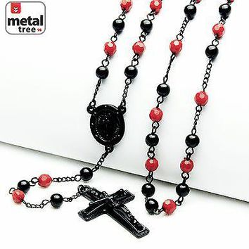 "Jewelry Kay style Men's Black Red 6mm Bead Guadalupe & Jesus Cross 28"" Rosary Necklace HR 600 KKRD"