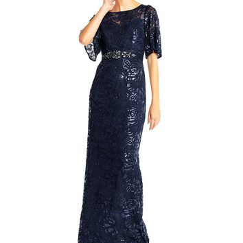 Adrianna Papell Sequin Lace Flutter Sleeve Gown | Dillards