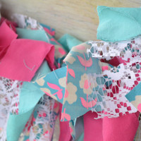Valentines /Baby Girl Scrappy Fabric banner hot pink/turquoise/white lace and vintage flowers birthday party decor