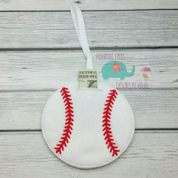 Baseball or softball hanging felt piggy bank, embroidered decoration, lost tooth, fairy, money, children, kids, childs, money saving, sports