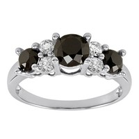 10k White Gold Black and White Diamond Ring ( 2 cttw, I Color, I2-I3 Clarity), Size 5