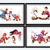 The Jungle Book art print Disney Jungle Book watercolor poster Set of 4 prints Home decoration Kids room wall art Nursery room art decor S20