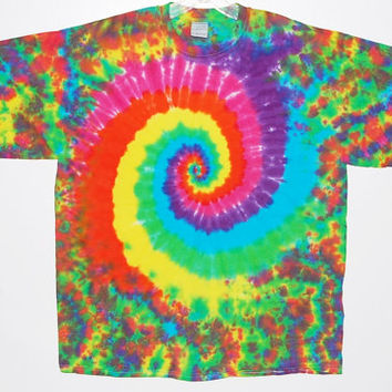 Adult Sm-XL Tie Dye T-shirt Neon Spiral Blotter Long Sleeve T Shirt small medium large XL hippie love art grateful dead