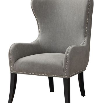 Caden Club Chair Grey 100% Linen Pine Wood