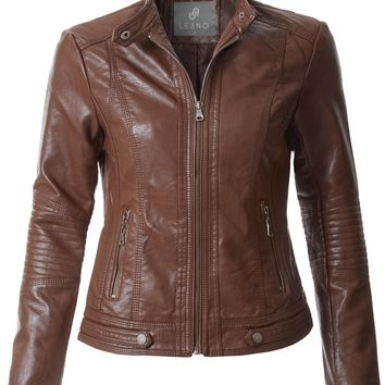LE3NO Womens Fully Lined Quilted Faux Leather Biker Moto Jacket with Zipper Pockets