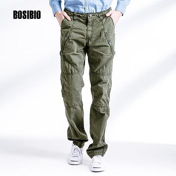 mens army green pants military style clothing Zipper Fly grey Cotton Pockets male Trousers High Quality cargo pants 3258F
