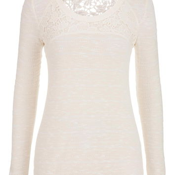 lightweight pullover with floral lace