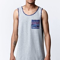 On The Byas Athletic Panel Longline Tank Top - Mens Tee - Gray