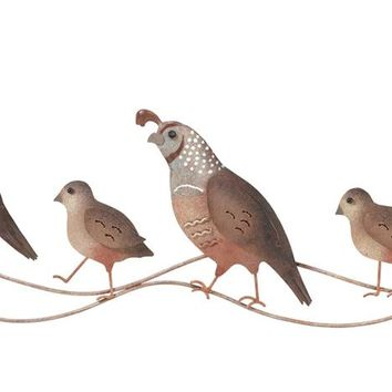 Family of Quail Metal Indoor Outdoor Wall Art