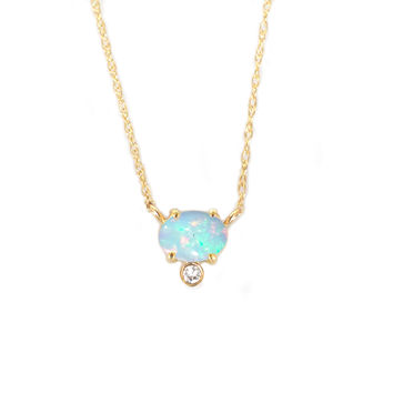 14kt Gold Opal and Diamond Fiore Pendant