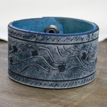 Denim Blue Leather Wristband with Dragonflies, One of a Kind Blue Leather Shabby Chic Cuff, Blue Hippie Leather Bracelet, Bohemian Jewelry