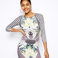 River Island Floral Stripe Multi Print Body-Conscious Dress