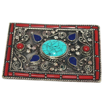 Statement Silver Turquoise Belt Buckle